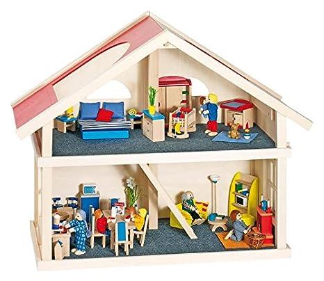Goki dollhouse complète 2 étages - un décor moderne avec des poupées Famille Ville Set maison de poupées