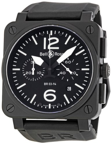Bell and Ross Aviation Black Dial Chronograph Mens Watch BR0394-BL-CA
