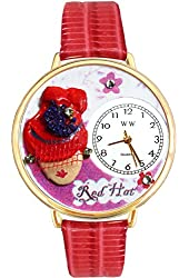 Red Hat Madam Red Leather And Goldtone Watch #WG-G0470005