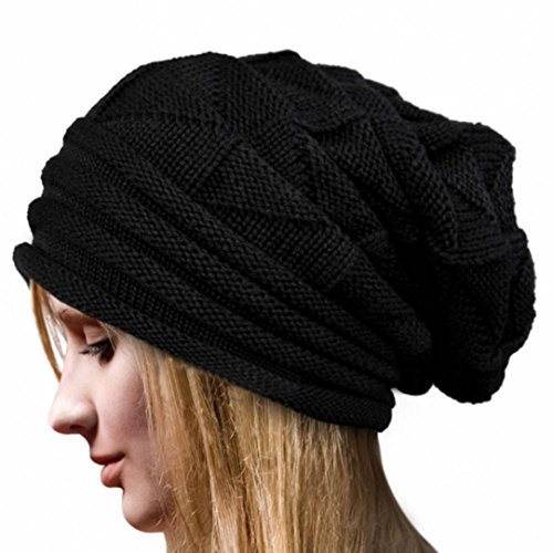 Hat, Yasalu Women Warm Winter Crochet Wool Knit Beanie Cap (Black) (Make Maleficent Horns)