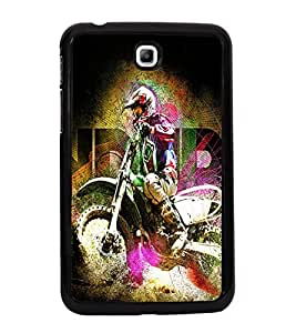 Fuson Premium 2D Back Case Cover Man on bike With Purple Background Degined For Samsung Galaxy Tab 3 T211 P3200