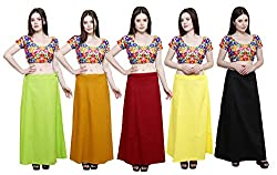 Pistaa combo of Women's Cotton Parrot Green, Mustered, Deep Maroon, Lemon Yellow and Black Color Best Indian Readymade Inskirt Saree petticoats