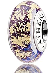 ATHENAIE Genuine Murano Glass 925 Silver Core Fantasy Purple With Gold Foil Charm Bead Fit European Bracelets...