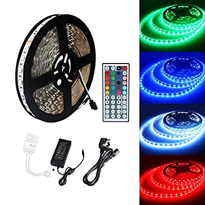 MTZ 5M/16.4 Ft SMD 3528 RGB 300 LED Color Changing Kit with Flexible Strip Light+44 Key IR Remote Control+ Power Supply