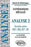echange, troc Jean Franchini, Jean-Claude Jacquens - Analyse - 2 : Classes prépas PSI*, PSI, PC*, PC, Cours et exercices corrigés, travaux dirigés