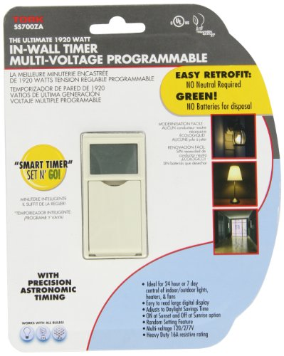 Nsi Industries Ss700Za Sunset/Sunrise, Astronomic 7 Day In-Wall Timer, 120/277 Vac, Spst Switch Type, Light Almond
