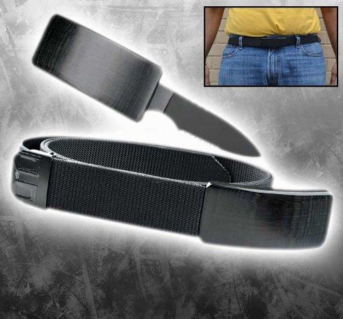 HG01-BK. CIA Secret Agent Self Defense Belt Knife -Black Wood hidden blade buckle weapon sharp edge PanthTD