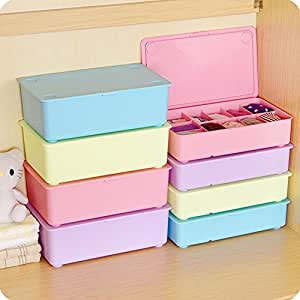 podaja stackable plastic underware storage box clothes drawer organizers divided. Black Bedroom Furniture Sets. Home Design Ideas