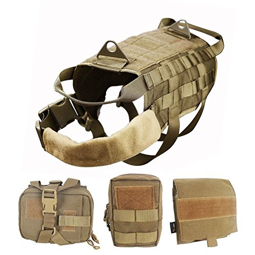 WOpet Tactical Dog Molle Vest Harness Training Dog Vest with Detachable Pouches (Xl) (Dog Water Harness compare prices)