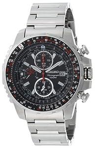 Seiko Men's SNAD05 Flight Computer Silver-Tone Watch