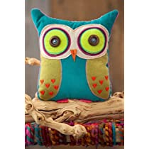 You Are Loved Owl Teal and Lime Green Shaped Pillow Natural Life
