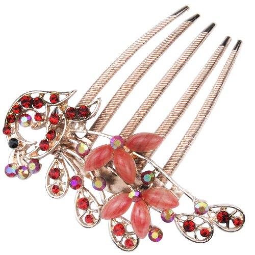 niceEshop Haarschmuck / Haarkamm, elegant, im Pfau-Design, im Vintage-Stil, im Bronze-Look, mit bunten Glaskristallen