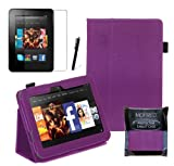 Purple Executive Multi Function Standby Case for the New Kindle Fire HD 7&quot; Tablet 16GB or 32GB  with Built-in Magnet for Sleep / Wake Feature + Screen Protector + Capacitive Stylus Pen
