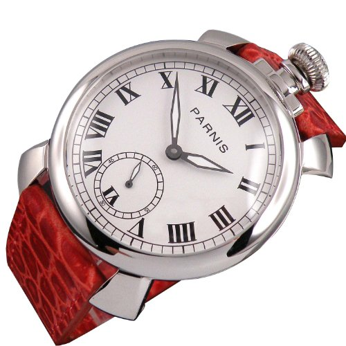 Parnis White Dial Polished Ss Case Seagull Manual Wind 6498 Womens Mens Red Leather Strap Wrist Watch