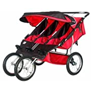BeBeLove USA Triple Jogging Stroller Red