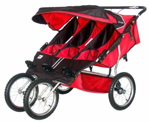 BeBeLove USA Triple Jogging Stroller, Red