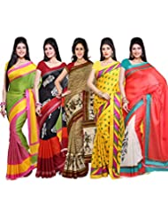 AISHA Printed Fashion Art Silk Multicolor Sari (Pack Of 5)