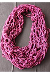 Hand Knitted Infinity Scarf - Fuscia