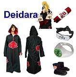 Traje de Cosplay para cosplay Naruto Akatsuki Deidara Ninja Set- Capa con capucha(S:Tama�o 150cm-158cm)+caja de l�piz+Deidara diadema+anillo+zapatos