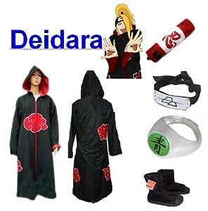 Naruto Deidara Hood Cosplay Costume and Shoes Set , Size L