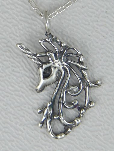 A Pretty Little Unicorn's Head Pendant or Charm in Sterling Silver