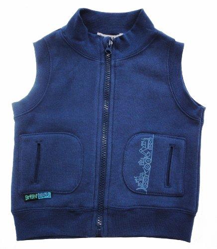 Bright Bots Boys Navy Blue Cotton Fleece Gilet size 18-24 months