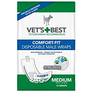 Vet's Best 12 Count Comfort Fit Disposable Male Dog Wrap, Medium