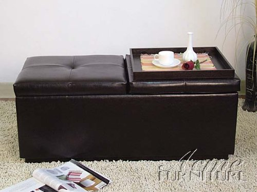Surprising Bycast Storage Ottoman W 2 Wood Trays Ac 015607 Degupolle Pabps2019 Chair Design Images Pabps2019Com