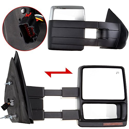 Scitoo Side View Mirrors For 2007-2014 Ford F-150 Power Heated Led Turn Signal Puddle Lamp Chrome Cover Tow Towing Mirror Pair (2011 F150 Tow Mirrors compare prices)