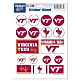 "Virginia Tech University Hokies Logo 5""x7"" inch Sticker Sheet NCAA licensed"