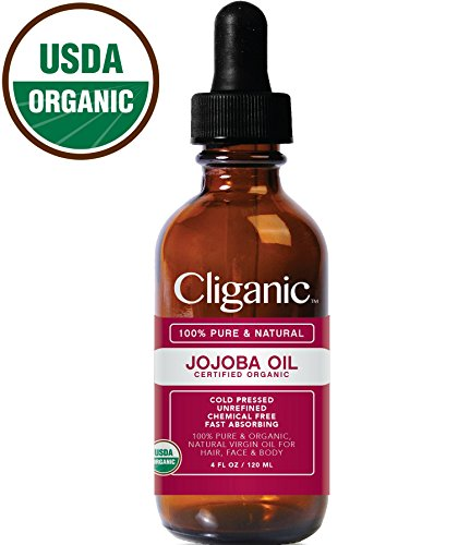 Cliganic USDA Organic Jojoba Oil for Hair & Face, 100% Pure (Large 4oz) - Natural Cold Pressed Jojoba Oil Essential Oil Carrier Unrefined - Certified Organic | Cliganic 90 Days Warranty