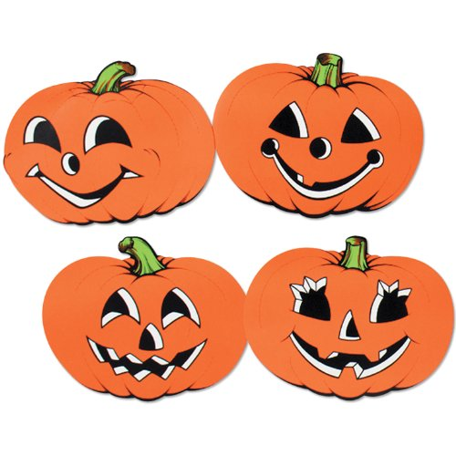 Halloween Pumpkin Cutouts 12in. 4/Pkg Pkg/1