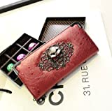 パンク&ロックテイスト かっこいいお財布 メンズ スカルバージョン (レッド)