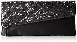 BCBG Melody Asymmetrical Foldover Clutch,Black Combo,One Size