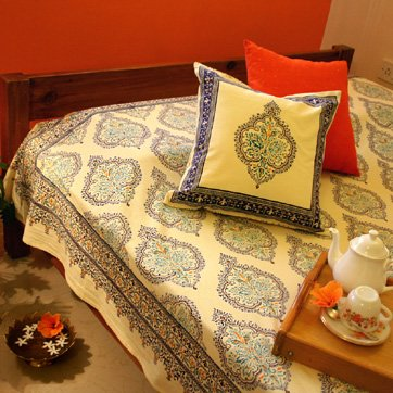 Morning Dew ~ Stylish Elegant French Yellow Blue Queen Duvet Cover 90X90 front-943890