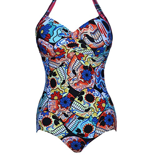 Sugar Skulls Print Retro Push Up Swimsuit