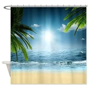 tropical beach shower curtain beach themed