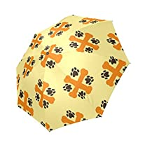 Lady's Summer Anti-UV Umbrella Wind Resistant,Dog Paw Print And Bone Sun Umbrella