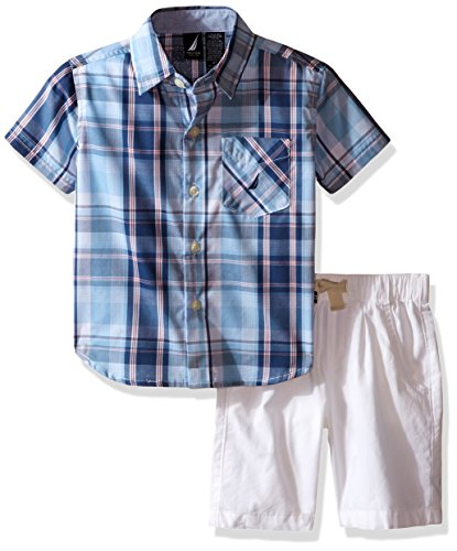 Nautica Little Boys' Two Piece Short Sleeve Woven Shirt with Pull On Bottom,Cool Breeze,Small(4) (Nautica Cool compare prices)