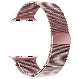 GEOTEL Apple Watch Band 38mm, Milanese Loop Stainless Steel Bracelet Strap Band for Apple Watch Series 1 Series 2 Sport&Edition with Unique Magnet Lock(No Buckle Needed) (38mm-Rose Gold)