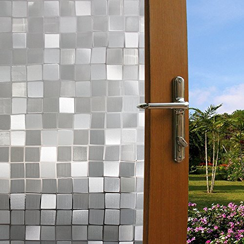 funlife® Home Instrument Decorative Mosaic Tile Design Window Film Static Cling No Glue 17.7 by 39.3 Inch