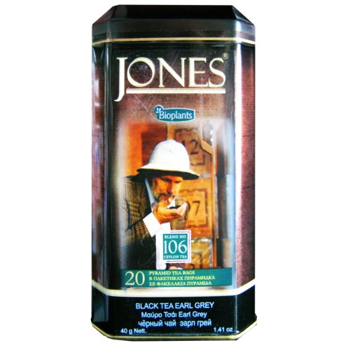 Bioplants Jones Earl Grey Black Tea (Pack of 1, Total 20 Pyramid Teabags)