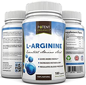 L-Arginine - 120 capsules - Essential Amino Acid - Nutritional Supplement - Lower Blood Pressure - Body Building Support - Nitric Oxide Booster - Protein Synthesis - Increase healing - 100% Money Back Guarantee