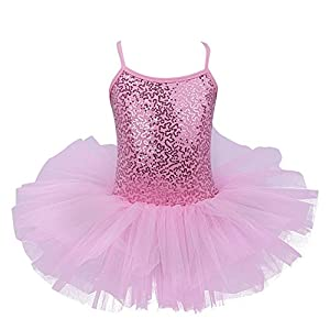 iEFiEL Justaucorps de Danse Classique Ballet Tutu Paillettés Sans Manches Enfant Fille 3-7 Ans Rose 5-6 ans