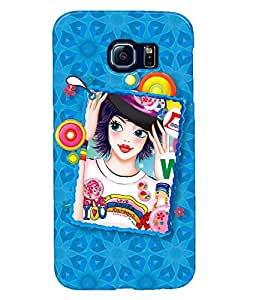 Fuson Blue Pattern Girl Back Case Cover for SAMSUNG GALAXY S6 - D4118