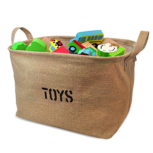 Jute Storage Bin for Toy Storage, Medium Size 14x10.5x9
