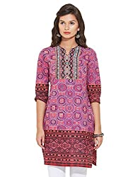 Rain and Rainbow Womens Straight Kurta (3707-AR-14/32-12_PINK_S)