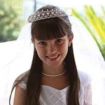 Angels Garment Girls White First Holy Communion Delicate Tiara Veil