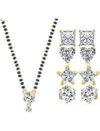 YouBella Jewellery Traditional Designer Gold Plated Mangalsutra And 4 Fancy Party Wear Earrings - Combo Of 5 Jewellery...