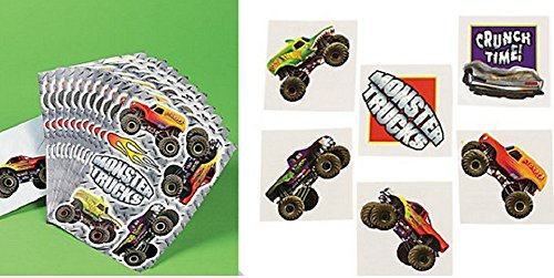 Monster Truck Tattoos and Sticker Set (3 Dozen Tattoos) (1 dz. Sticker sheets)Party Favors/Toys/Birthday - 1